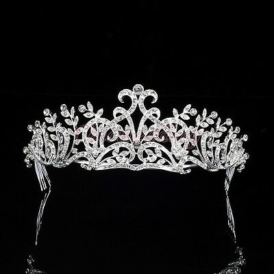 Crystal Tiara with Hair Comb Wedding Rhinestone Crown Headband Bridal Headpieces