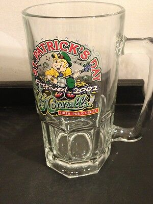 O'Connell's St Patty Glass Mug  2002 Norman Oklahoma Green Beer Day Irish Pub