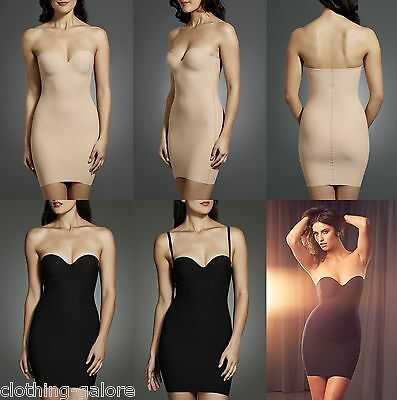 Berlei Sculpt Strapless Contour Slip Black Gold Nude Body Shape Slimming Dress