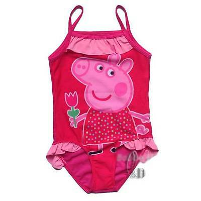 Girls Hot Pink Peppa pig Swimwear One Piece Swimsuit Beachwear AU SELLER gs015