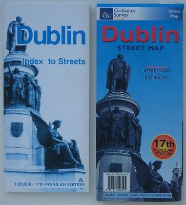Large-Format Ordnance Survey Road Map DUBLIN Ireland Street Index Bus Routes