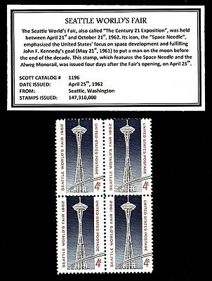1962  SEATTLE WORLD'S FAIR - Mint -MNH- Block of Four Vintage Postage Stamps