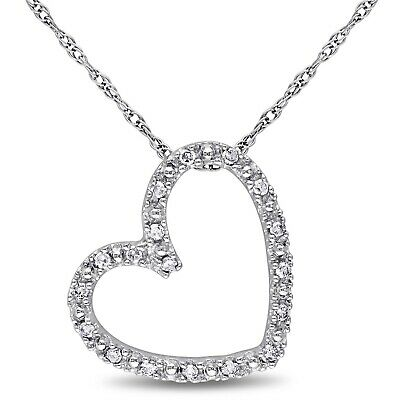 10k White Gold 1/10 Ct Diamond TW Love Heart Pendant With Chain GH I2;I3