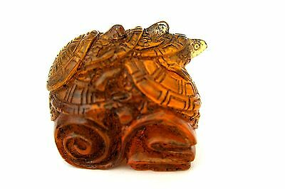 Vintage Japanese Amber Netsuke  Turtles on Japanese Blanket,signed