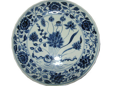 Chinese Peculiar Blue&White Porcelain Flowers Plants Plate Free Ship K1153