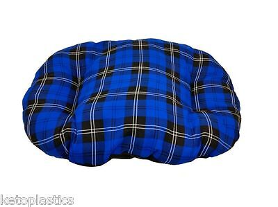 XL EXTRA LARGE BLUE TARTAN Cotton Dog Cat Bed Cushion For Inside Basket UK Made