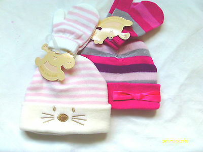 Baby Girl Hat & Mitts Sets