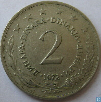2 Two Dinar Yugoslavia Coins Eastern Europe Circulated Coinage