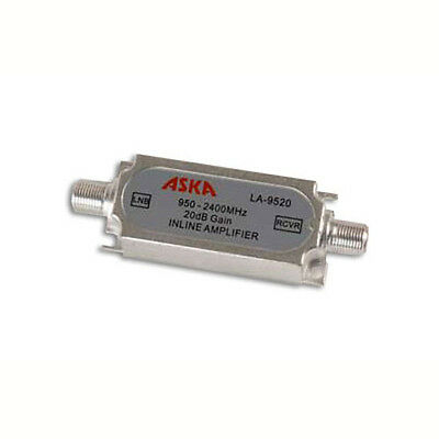 ASKA 20 dB In-Line Amplifier Satellite DBS LNB 2.5 GHz 950-2400 MHz Signal Amp