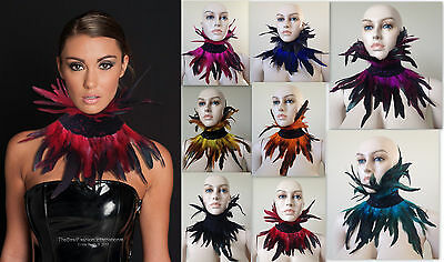 Black Feather Choker Collar Under Chin Neck Steampunk Corset Gothic Costume goth