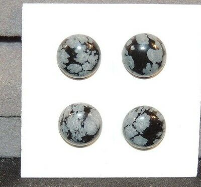 Snowflake Obsidian Cabochons 10mm  Set of 4 (7966)