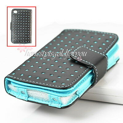 Blue Dot Leather Wallet Case Skin Cover Pouch For Ipod Touch 4Th 4 4Gen