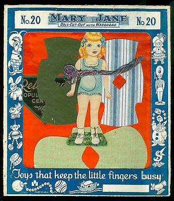 No. 20 Mary Jane Doll-Cut-Out with (Cloth) Wardrobe c 1940s Original Package