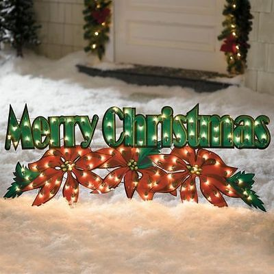Lighted PreLit Merry Christmas Poinsetta Sign Display Outdoor Holiday Decoration