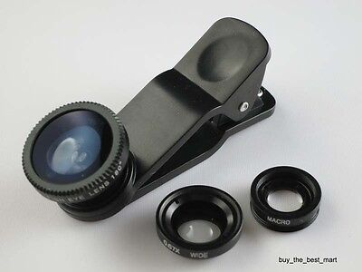 Black 3in1 Fisheye+Wide Angle+Macro Lens Kit for Apple iPhone 6 Plus 5S Samsung