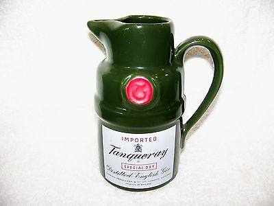 "Tanqueray Ceramic Pub Bar Pitcher Dark Green 6 3/4""H 3 3/4"" Base  24 oz.  EUC"