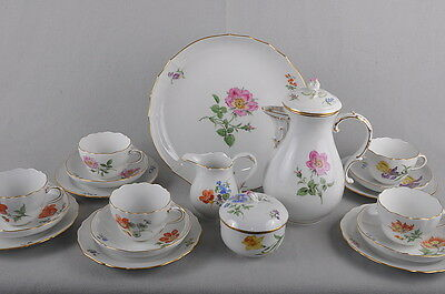 Meissen Flower 1 & Gold Rim, Coffee Service For 5 Persons, 19 Pieces
