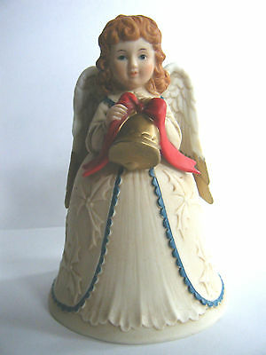 Homco Angel Christmas Bell Embossed Holly Design Excellent Used Condition