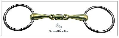 Loose Ring Snaffle Horse Bit - Aurigan Gold Mouth & KK Style Link BS188