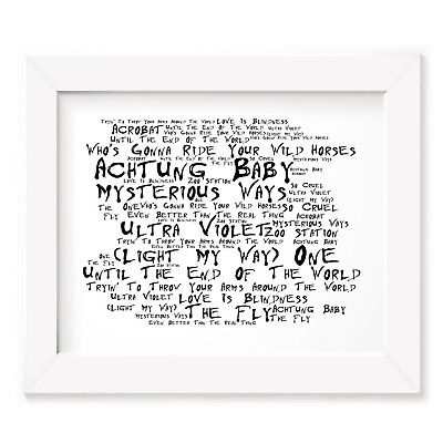 `Noir Paranoiac` U2 Art Print Typography Album Song Lyrics Signed Wall Poster