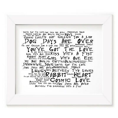 `Noir Paranoic` FLORENCE AND THE MACHINE Art Print Typography Song Lyrics Poster