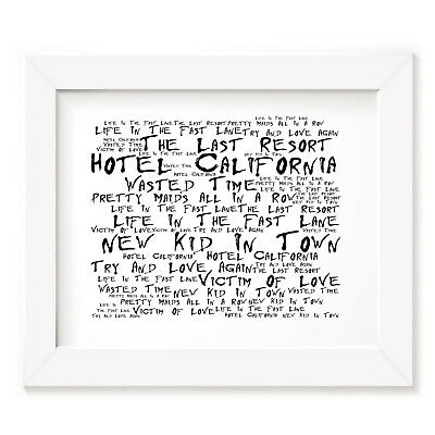 The Eagles Poster Print - Hotel California - Lyrics Gift Signed Art