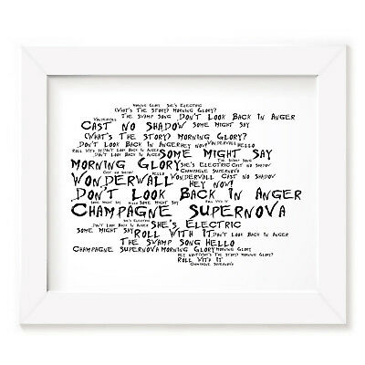 Original art OASIS What`s the Story signed limited 10x8 lyrics rock poster print
