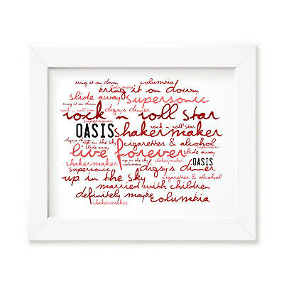 Oasis Poster Print - Definitely Maybe - Lyrics Gift Signed Art