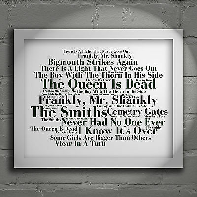 THE SMITHS The Queen is Dead ALBUM ART PRINT SIGNED LYRICS TYPOGRAPHY POSTER