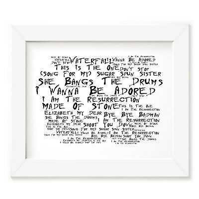 `Noir Paranoiac` STONE ROSES Art Print Typography Song Lyrics Signed Wall Poster