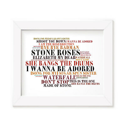 `Stoned Love` THE STONE ROSES Art Print Typography Album Lyrics Signed Poster