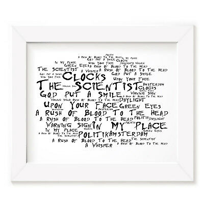 COLDPLAY POSTER PRINT - A Rush of Blood to the Head - Lyrics Gift Signed Art
