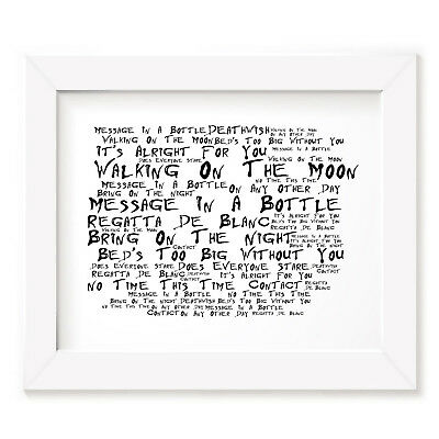 `Noir Paranoiac` THE POLICE Art Print Typography Song Lyrics Signed Wall Poster