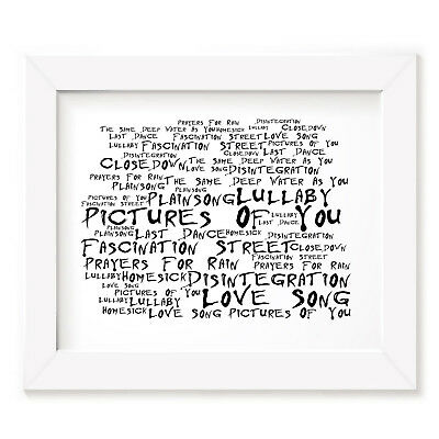 `Noir Paranoiac` THE CURE Art Print Typography Song Lyrics Signed Wall Poster