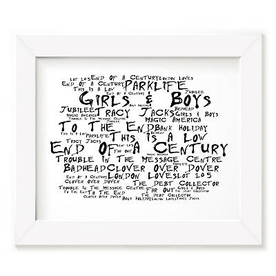 `Noir Paranoiac` BLUR Art Print Typography Album Song Lyrics Signed Wall Poster