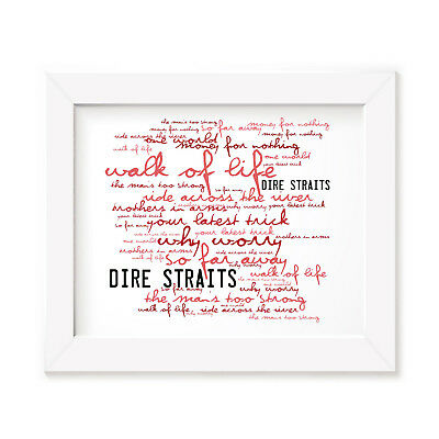 `Zephyr` DIRE STRAITS Art Print Typography Album Song Lyrics Signed Wall Poster