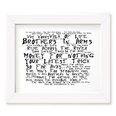 `Noir Paranoic` DIRE STRAITS Art Print Typography Song Lyrics Signed Wall Poster