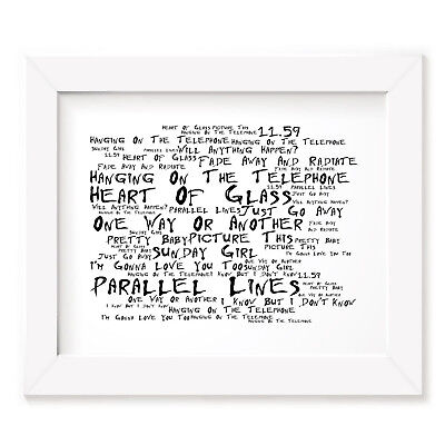 `Noir Paranoic` BLONDIE Art Print Typography Song Lyrics Signed Wall Word Poster