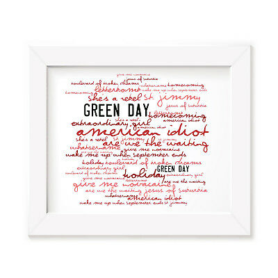 `Zephyr` GREEN DAY Art Print Typography Album Song Lyrics Signed Wall Poster