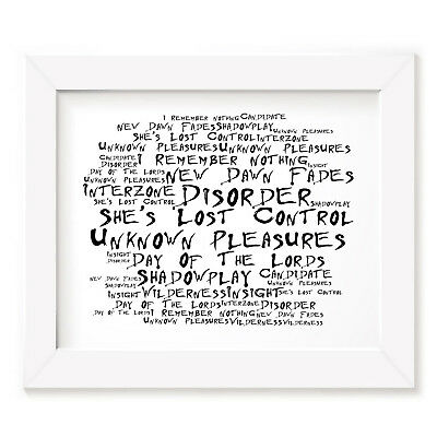 `Noir Paranoic` JOY DIVISION Art Print Typography Song Lyrics Signed Wall Poster