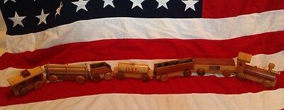 VTG 1983 WOODEN TOY TRAIN 7pc Choo Hand Made Crafted OOAK Christmas Wood Antique