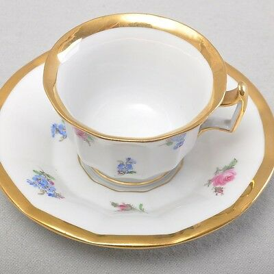 Meissen Prunk Mocha Cup Espresso Cup, Getreute Roses & Vergissm a / One Not,