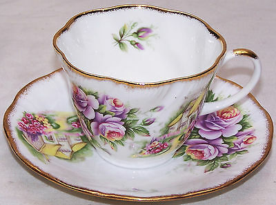 Queen's Staffordshire Fine Bone China Floral Cup & Saucer England