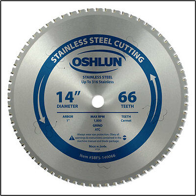 "Oshlun SBFS-140066 14"" x 66T Saw Blade 1-Inch Arbor for Stainless Steel"