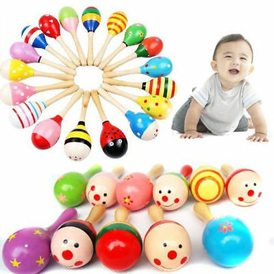 2Pcs Wooden Maraca Wood Rattles Kids Musical Party favor Child Baby shaker Toy