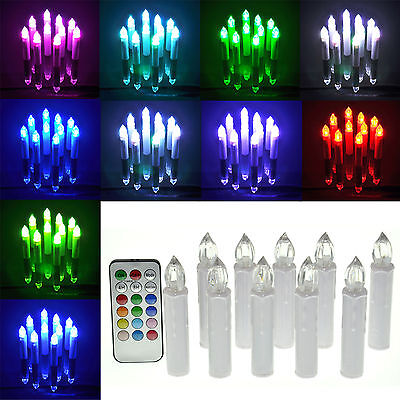 10pcs/set Flameless LED RGB Light Candles for Wedding Party Xmas with Remote
