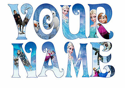 DISNEY FROZEN LETTER NAME STICKERS WALL DECO DECAL 3 SIZES PERSONALISED lot FS
