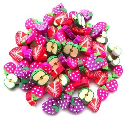 Extra Large Fimo Polymer Fruit Beads - You Get 50 Beads - Fast And Free P&p