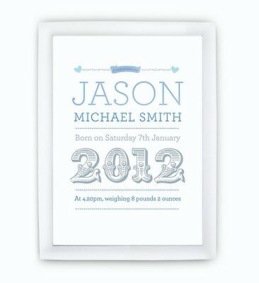 A5 Personalised Childrens Baby Name Picture Print boys girls READY TO FRAME