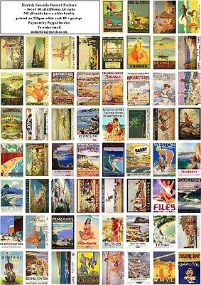 British Coastal Resort  Posters   -60 All Different A6 Art Cards